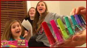 girls try bo po nail polish for kids brush on peel off family