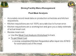 warrior logisticians dining facility menu management 11 all costs