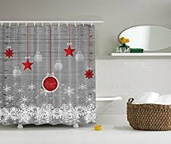 Grey Red Curtains Amazon Com Red Holiday Star Ornaments And Snowflake U0026 Gray
