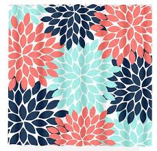 Coral And Turquoise Curtains Navy Coral Aqua Floral Shower Curtain Flowers Custom Monogram