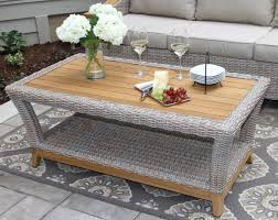 Pc Coffee Table Wicker U0026 Natural Teak Wood Outdoor Coffee Table