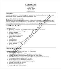construction resume template u2013 9 free word excel pdf format