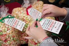 then she made popcorn treat christmas gift