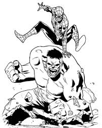 coloring spiderman colouring pages 1 hulk and spider man