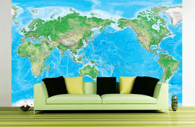 Detailed World Map Detailed World Physical Map Mural Pacific Centered At 150 E