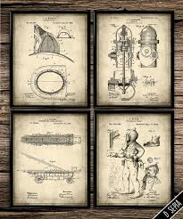 Firefighter Home Decorations Vintage Fire Rescue Set Vintage Prints Patent Print Office