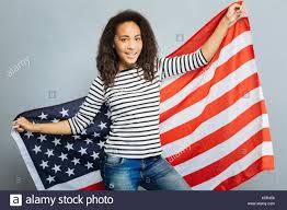 Big American Flags Patriotic Female Demonstrating Big American Flag Stock Photo