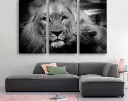 Lion Decor Home Lion Canvas Panel Etsy
