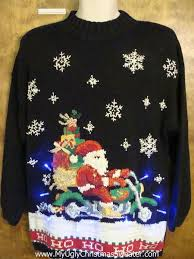 on a motorcycle best 80s light up ugly xmas sweater