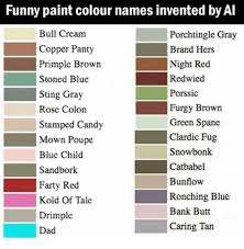 funny paint names funny paint colour names invented by al bull cream copper panty