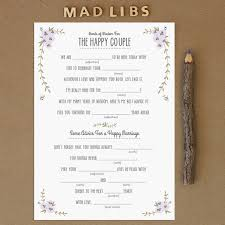 wedding mad lib template wedding mad libs for engagement party bridal shower and bachelorette