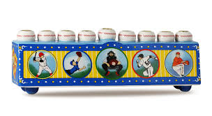 sports menorah baseball menorah for collectors in a vintage retro style