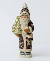 brocaded coat santa with gold ornaments by vaillancourt folk art