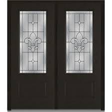fiberglass front doors with glass mmi door 74 in x 81 75 in cadence decorative glass full lite