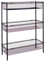 Storage Bookshelves With Baskets by Wire Storage Unit W Basket Shelves In Black Contemporary