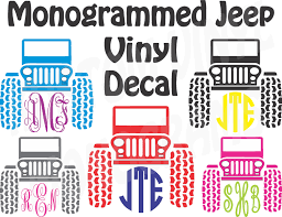 Monogrammed Jeep Vinyl Decal Personalized Car Decal
