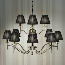 12 Light Chandeliers Stanford Nickel 12 Light Chandelier Black Shades New Classics