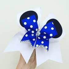 mickey ribbon mickey mouse ears cheer bow with mini royal blue polka dot bow
