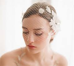 vintage wedding bridal white birdcage veil face net flower combs