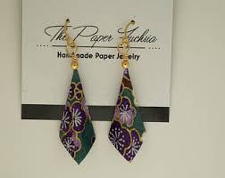 handmade paper earrings handmade paper jewelry by thepaperfuchsia on etsy