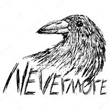 crow raven handdrawn sketch text nevermore isolated on white