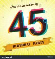 many stock birthday party invitation card vector creation 45th birthday party invite template design stock vector 184029359