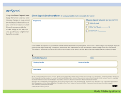 free netspend direct deposit authorization form pdf eforms
