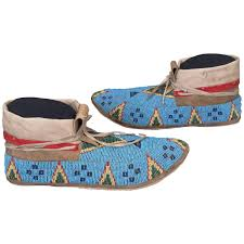 antique native american indian beaded moccasins sioux late 19th