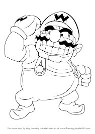 learn draw wario super mario super mario step