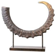 Home Decor Statues Sable Antelope Horn Sculpture Rustic Decorative Objects And