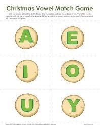 christmas vowel match game worksheets for kindergarten