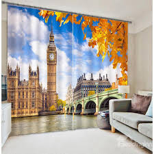 Window Curtains On Sale Classic Big Ben Printing Living Room And Bedroom 3d Blackout And