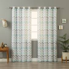 Chevron Pattern Curtains Home Mint And Grey Wave Chevron Pattern Curtain Panel Pair