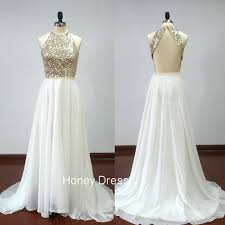 white wedding dress with gold beading honey dress white chiffon a line beaded prom dress gold sequins