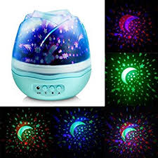Rotating Night Light Projector Welltop Multicolor Moon Star Projector Night Light Rotating Starry