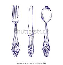 kitchen forks and knives silverware vintage spoon fork knife stock vector 158034737