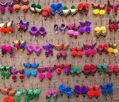 diy necklace wholesale images Tribal pom pom earrings wholesale choice of colors hmong ethnic jpg