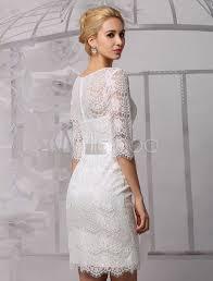 milanoo brautkleider elegantes etui brautkleid aus spitze und rundkragen und gürtel