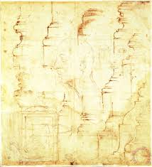 michelangelo buonarroti sketches of a column and faces painting