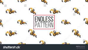 seamless pattern tractor backhoe loader inspired stock vector