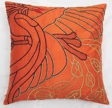 silk peacock home decor orange dupioni silk peacock cushion cover decorative orange pillow