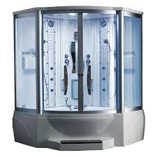 ariel 63 in x 63 in x 89 in steam shower enclosure kit with