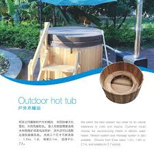 Wood Fired Bathtub Round Wooden Bathtub With External Heater For 6 8 Person Family