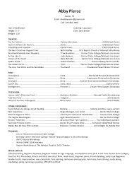 Special Skills Theatre Resume Current Acting Resume