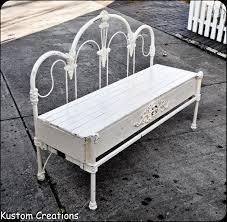 custom bench made from old wrough iron headboard footboard and