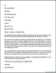 Formal Complaint Letter Against An Employee employee complaint letter sle sle employee complaint letter