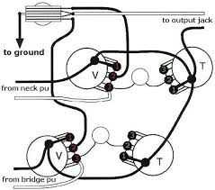 how to re wire an electric guitar with two knobs and two pickups