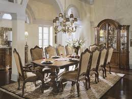 dark brown varnish long wooden dining table formal dining room