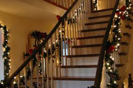 lighted christmas tree garland beautiful christmas stairs decorations garland lights also home