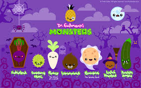 Cartoon Halloween Monsters Fruity Cuties Dr Fruitenstein Monsters Widescreen Wallpaper Jpg
